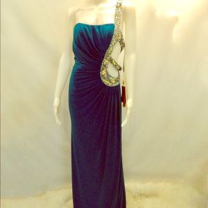 NWT Cut Out Detail Teal Form Fitting Formal Dress